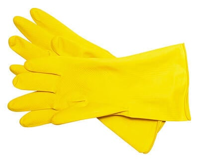 Yellow-rubber-dish-gloves